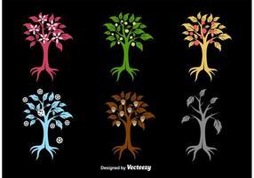 Silhouettes saisonnières d'arbres vecteur