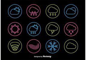 Icônes de ligne météo néon