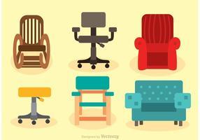 Ensemble de vecteurs de chaises