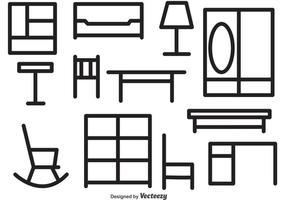 Icônes de vecteur de contour de meuble