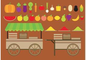 Chariots à vecteurs de fruits et légumes vecteur