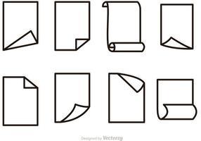 Jeu d'icônes de contour de papier vectoriel gratuit