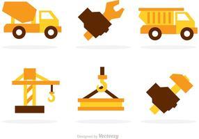 Icônes de vecteur de construction lourde