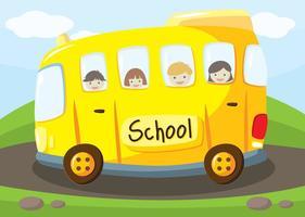 Fond d'écran du bus scolaire vecteur