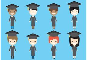Personnages vectoriels diplômés vecteur