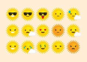 Emoticons vectoriels de soleil vecteur