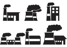 Icônes graphiques de silhouettes d'usine vecteur