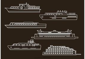 Icônes vectorielles de bateaux et de contours de bateaux