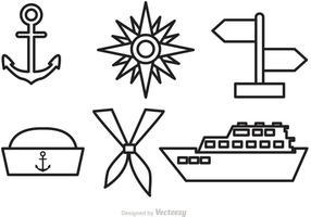 Icônes de contour de vecteur nautique