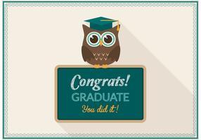 Vector de carte de hibou de graduation gratuit