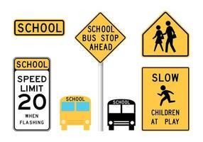 Signes d'avertissement d'école de vecteur gratuit