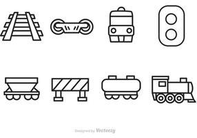 Icônes de contour de chemin de fer vectoriel