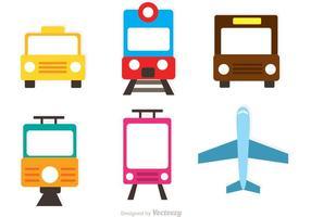 Icônes plates de transport de vecteur