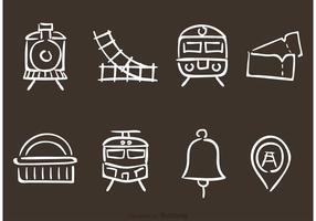 Icônes de vecteur de chemin de fer dessiné à la main
