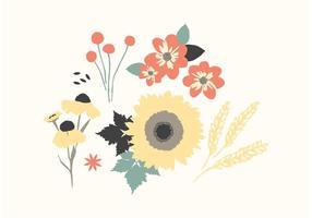 Vecteurs floraux d'automne vecteur