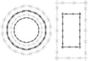 Cadres de vecteurs en fil de fer barbelé vecteur