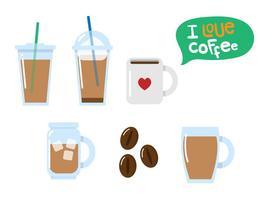 Vecteurs de café glacé plat