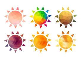 Icônes polygonales de soleil chaud