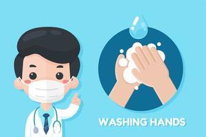 médecin de dessin animé recommandant de se laver les mains vecteur
