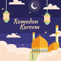 ramadan kareem avec lampes et mosquée vecteur