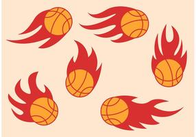 Basketball sur les vecteurs de feu vecteur