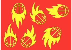 Vecteurs de basketball sur feu vecteur