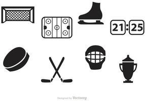 Icônes de vecteur de hockey noir