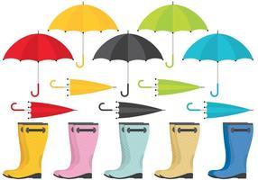 Bottes de pluie et vecteurs parapluie