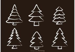 Vecteurs d'arbre à cèdre dessinés à la craie vecteur