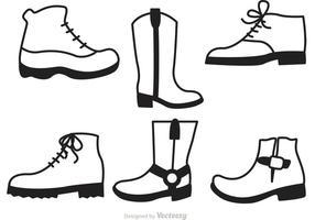 Ensemble d'icônes de chaussures homme vecteur
