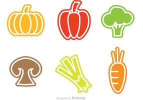 Icônes de vecteur de légumes colorés