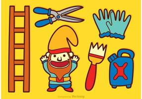 Icônes de dessin animé de jardin de gnome vecteur