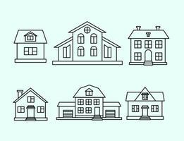 Ensemble de contour de la maison vectorielle