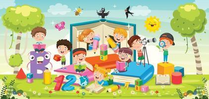 dessin animé enfants jouant autour de livres