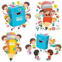 concept de l'éducation avec des enfants drôles vecteur