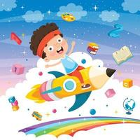 petit étudiant volant avec un crayon vecteur