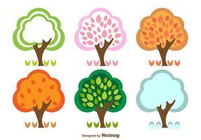 Printemps été automne et hiver arbres