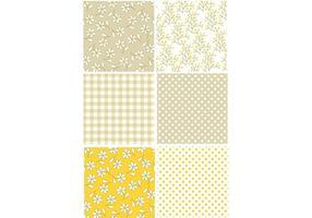 Ensemble de motifs rétro jaune vecteur