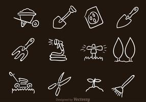 Icônes d'équipement de jardinage vectoriel
