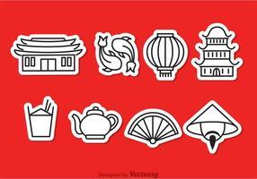 Icônes de contours de culture chinoise