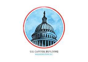 Aquarelle gratuite Aquarelle US Capital Building vecteur