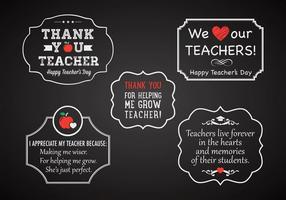 Vector d'étiquettes de craie de la journée gratuite de l'enseignant