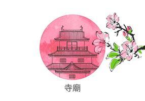Vecteur du temple chinois dessiné gratuit
