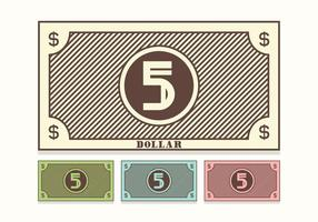 Free Retro 5 Dollar Bill Vector