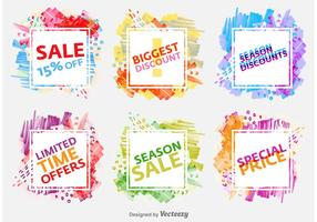 Badges de vente de saison aquarelle vecteur