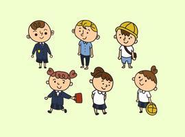 Écoliers dans des vecteurs uniformes de bande dessinée vecteur