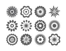 Assortiment de formes de fleurs vecteur