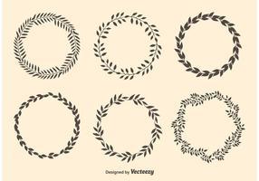 Couronnes de cercle de laurier vecteur