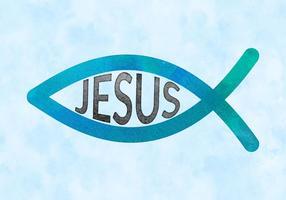 Symbole de poisson chrétien de vecteur gratuit en aquarelle