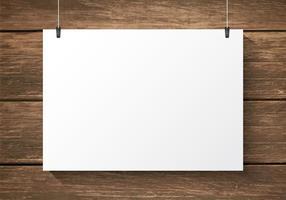Plaque de papier libre sur le vecteur de fond en bois